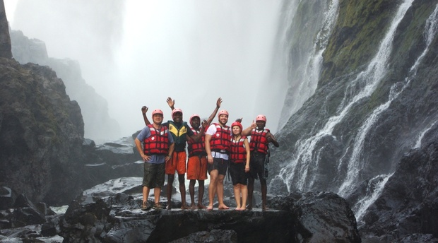 Swimming under the Victoria Falls Zambia Bundu Adventures