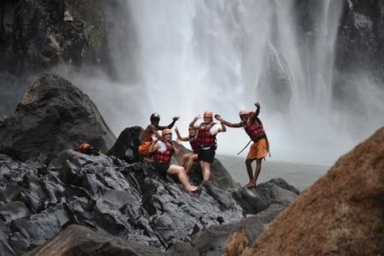 Swimming under the Falls Bundu Adventures Zambia